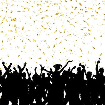 Multitud de fiesta en el fondo de confeti de oro
