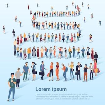 Multitud de gente esperando en una presentación de cola y plantilla de banner promocional web