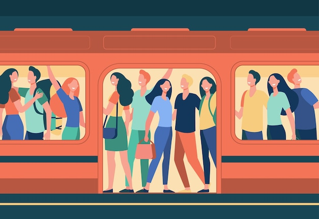 Multitud de gente feliz viajando en metro. pasajeros de pie en vagón de metro abarrotado en la estación. ilustración de dibujos animados de superpoblación, hora punta, transporte público, viajeros.