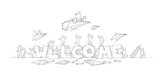 Multitud de gente trabajadora con letras grandes. doodle linda escena en miniatura con mensaje de bienvenida