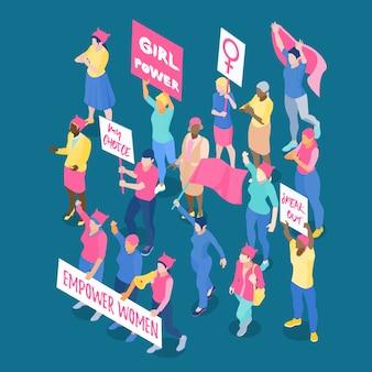 Multitud de mujeres feministas protestando con pancartas y banderas isométricas ilustración vectorial