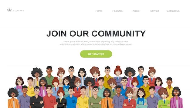 Multitud de personas como una comunidad empresarial que se unen.