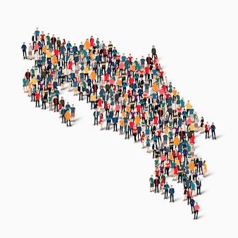 Multitud de personas formando un mapa de costa rica.