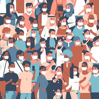 Multitud de personas con máscaras médicas novela coronavirus 2019-ncov enfermedad epidémica pandemia cuarentena concepto hombres mujeres de pie juntos retrato
