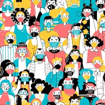 Multitud de personas con máscaras médicas que se protegen del virus. patrón sin costuras concepto de coronavirus