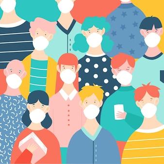 Multitud de personas con máscaras médicas