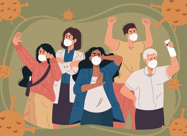 Multitud de personas con mascarilla. medidas preventivas contra el coronavirus.