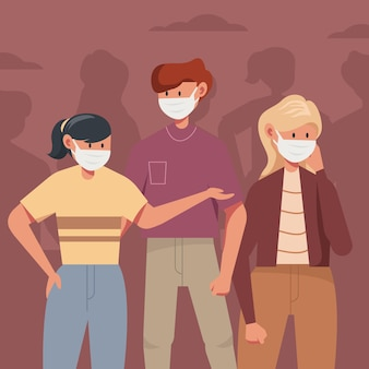 Multitud de personas con mascarillas
