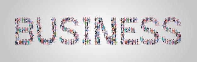 Multitud de personas reunidas en forma de palabra de negocios