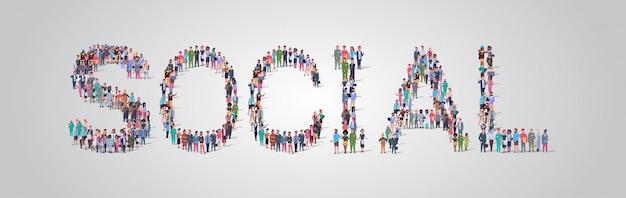 Multitud de personas reuniéndose en forma de palabra social