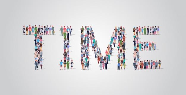 Multitud de personas reuniéndose en forma de palabra de tiempo