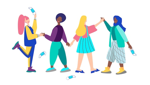 Una multitud de personas se toman de la mano y arrojan máscaras. ilustración vectorial
