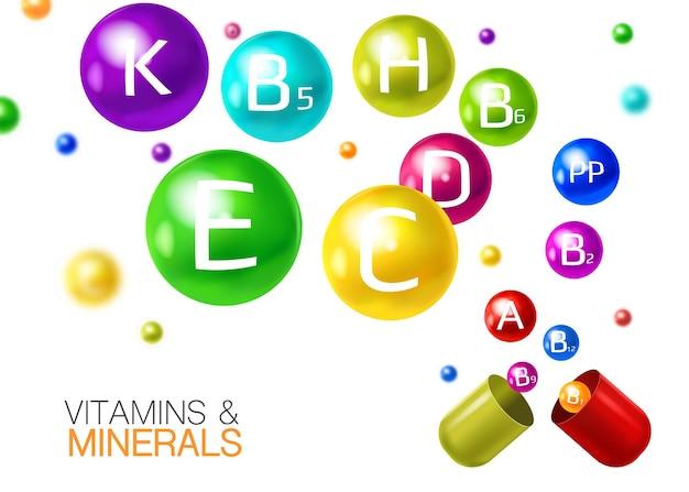 Multivitaminas esenciales con minerales en cápsulas, píldoras, composición colorida realista con bolas de vitamina voladoras 3d