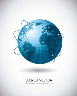 Mundo azul con la red de satélites sobre fondo gris ilustración vectorial