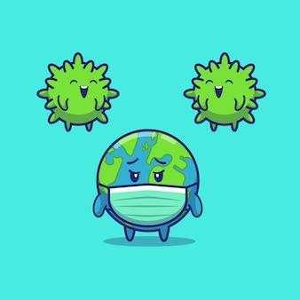 Mundo cansado de Corona Virus Icon Illustration. Personaje de dibujos animados de la corona de la mascota. Concepto de icono mundial aislado
