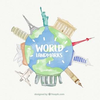 Mundo con puntos de referencia en estilo acuarela