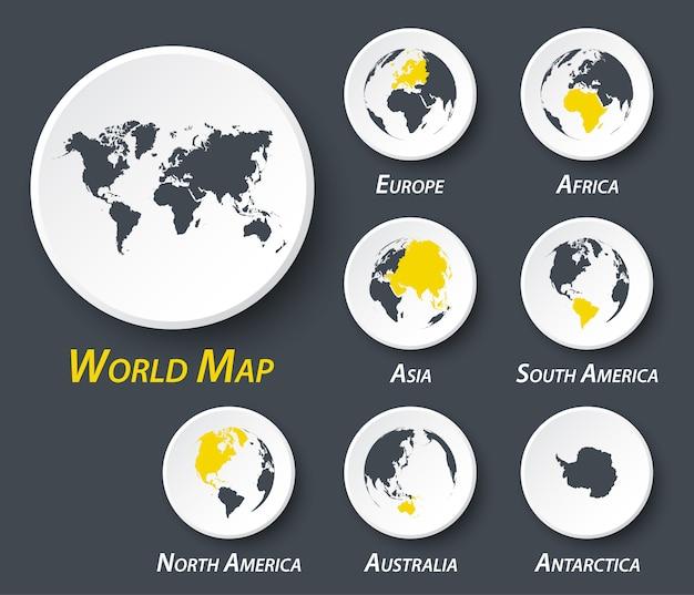 Mundo y continente mapa en círculo.