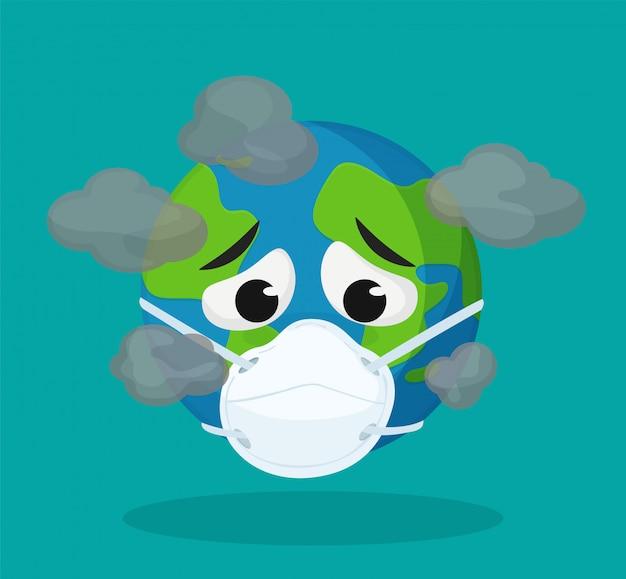 El mundo de los dibujos animados lleva una máscara de salud. | Vector  Premium