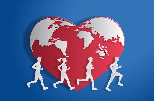 Mundo en forma de corazón con gente corriendo.
