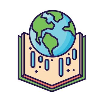 Mundo en icono de libro