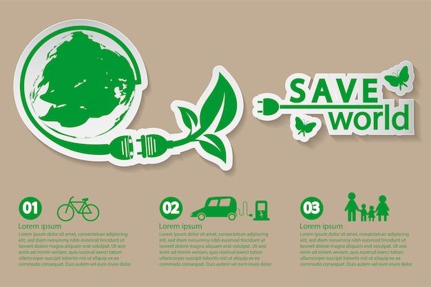 Mundo con ideas de concepto ecológico.