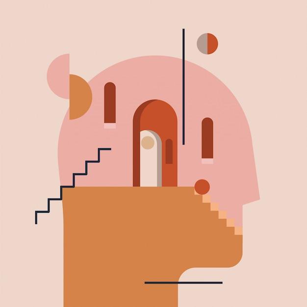 Mundo interior. proceso de pensamiento. mente abierta. silueta de la cabeza de los humanos con una arquitectura minimalista moderna y formas geométricas abstractas en el interior. concepto de psicoterapia psicológica. ilustración