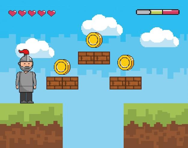 Mundo de juego de arcade y escena de píxeles.