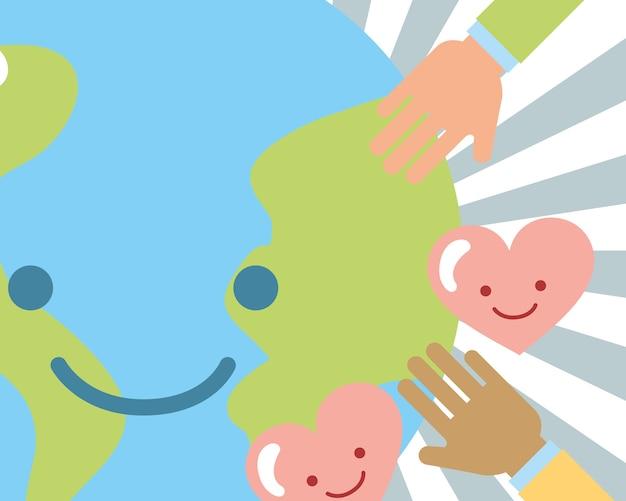 Mundo kawaii manos amor corazones caridad imagen