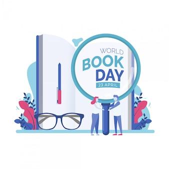 Mundo libro día personas minúsculas vector ilustración
