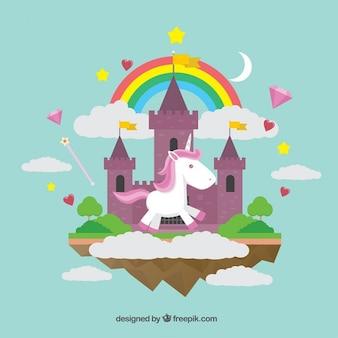 Mundo maravilloso con un unicornio