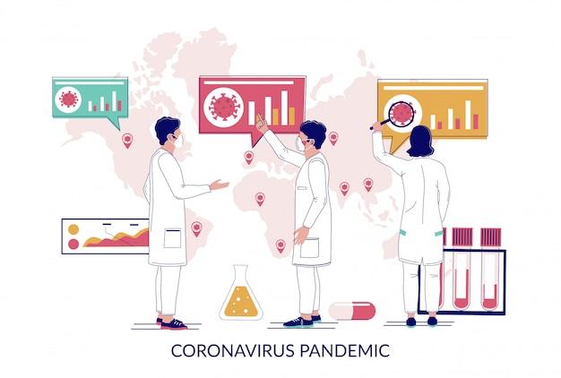 El mundo de la pandemia de coronavirus se extendió, ilustración plana
