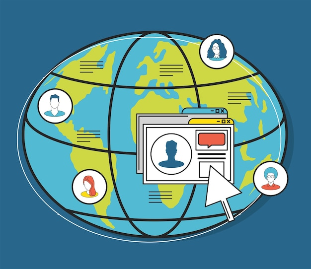 Mundo de las redes sociales haga clic en personas conectadas