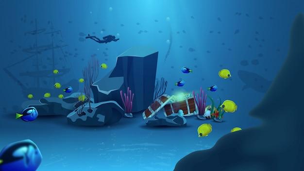 Mundo submarino, ilustración vectorial con cofre del tesoro