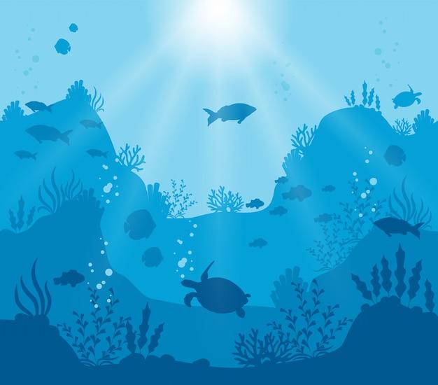 Mundo submarino ilustrado sobre un fondo azul profundo