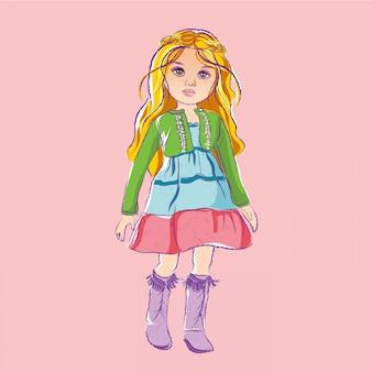 Muñeca de ilustración con cabello rubio