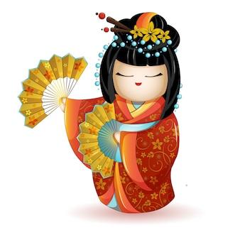 Muñeca jkokeshi en kimono rojo con abanicos.