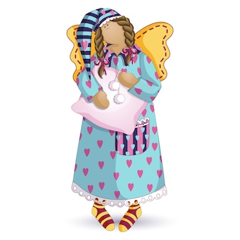 Muñeca de trapo ángel soñoliento.