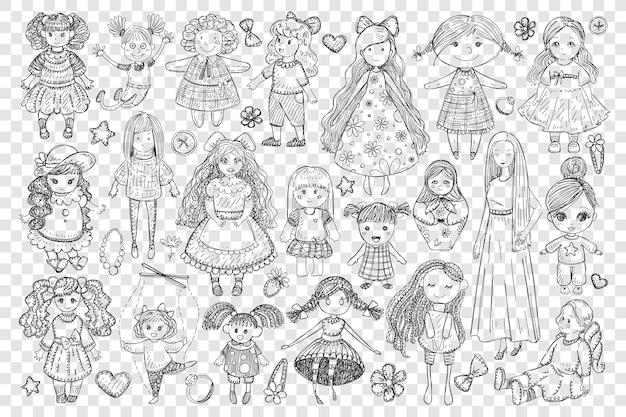 Muñecas y juguetes para niña doodle conjunto ilustración