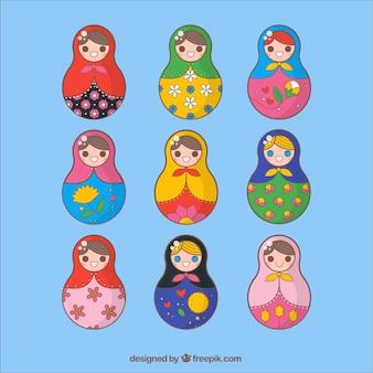 Muñecas rusas coloridas