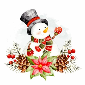 Muñeco de nieve de acuarela con adornos navideños