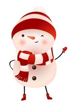 Muñeco de nieve en bufanda y gorra guiñando un ojo y agitando la ilustración