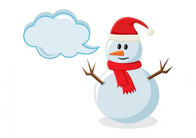 Muñeco de nieve con cuadro de diálogo para su texto. ilustración vectorial