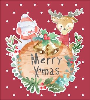 Muñeco de nieve de dibujos animados y renos con ilustración de letrero de madera de navidad