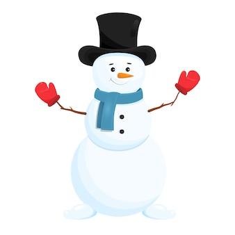 Muñeco de nieve divertido en el sombrero. aislado