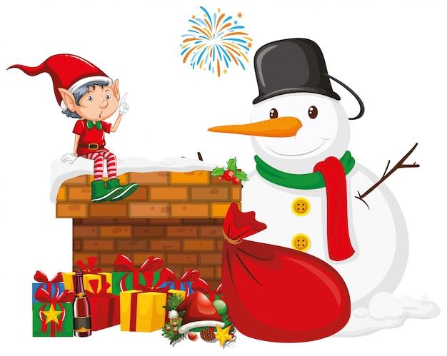 Muñeco de nieve y elfo con muchos regalos