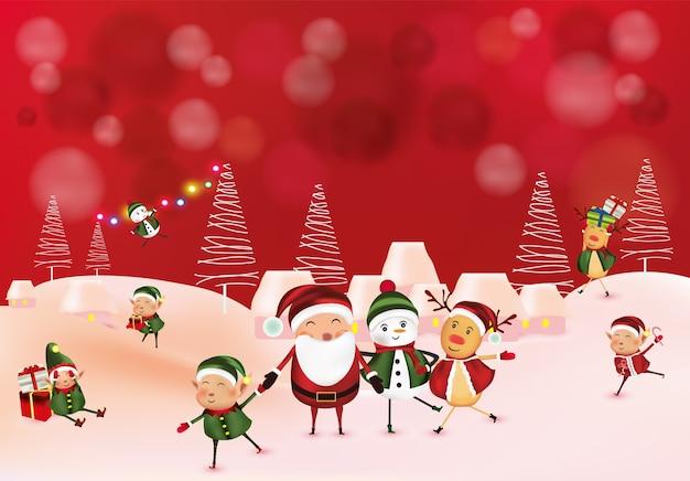 Muñeco de nieve, elfos, renos, vacaciones de navidad.