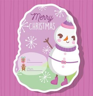 Muñeco de nieve feliz feliz navidad