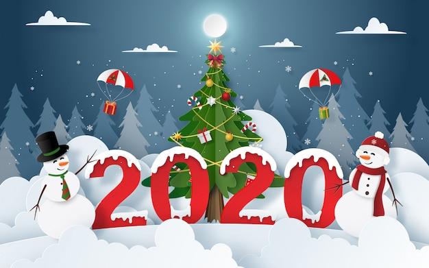 Muñeco de nieve con fiesta de navidad y año nuevo 2020 en nochebuena