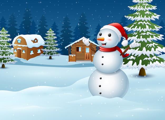 Muñeco de nieve frente a la escena de la vivienda.