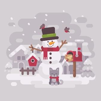 Muñeco de nieve con un gatito cerca de un buzón